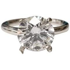 GIA Certified 3.29 Carat Brilliant Cut Diamond Platinum Solitaire