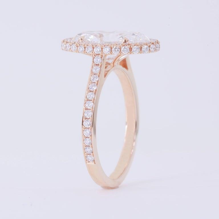 Oval Cut GIA Certified 3.29 Carat D VS2 Oval Diamond 18 Karat Rose Gold Halo Ring For Sale