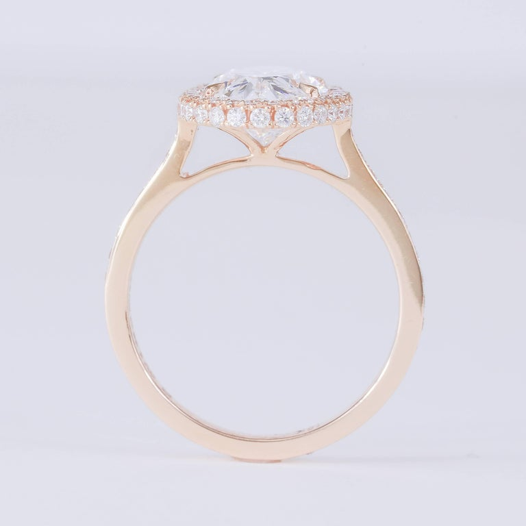 GIA Certified 3.29 Carat D VS2 Oval Diamond 18 Karat Rose Gold Halo Ring In New Condition For Sale In Chicago, IL