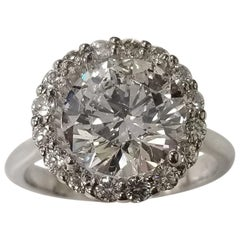 GIA Certified 3.29 Carat Round Diamond in a Halo Setting