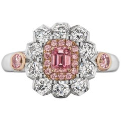 GIA Certified .33 Carat Fancy Intense Pink Diamond Cocktail Ring