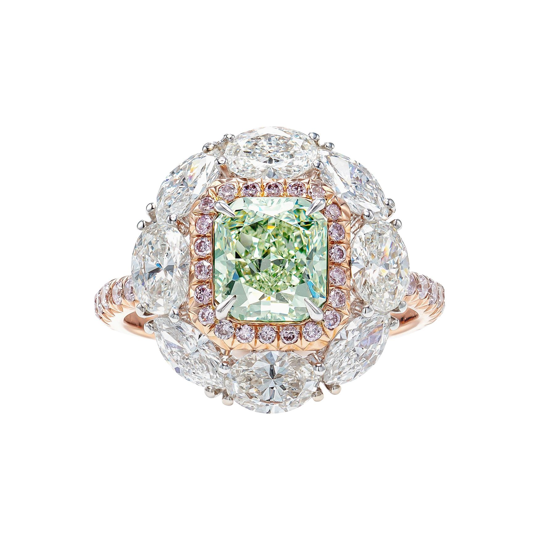 GIA Certified 3.3 Carat Fancy Yellow Green and Pink Diamond Ring in 18K Gold