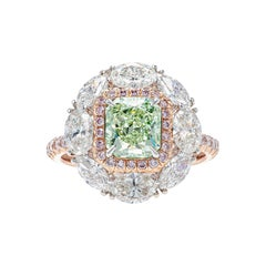 GIA Certified 3.3 Carat Fancy Yellow Green and Pink Diamond Ring