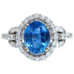 GIA Certified 3.30 Carat Natural No Heat Sapphire Diamond Ring Unheated 14 Karat