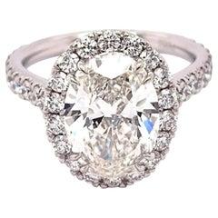 GIA Certified 3.30 Carat Oval Diamond Engagement Ring Platinum Mounting