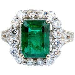 GIA Certified 3.31 Carat Natural Emerald Diamonds Ring 14 Karat 'F1'