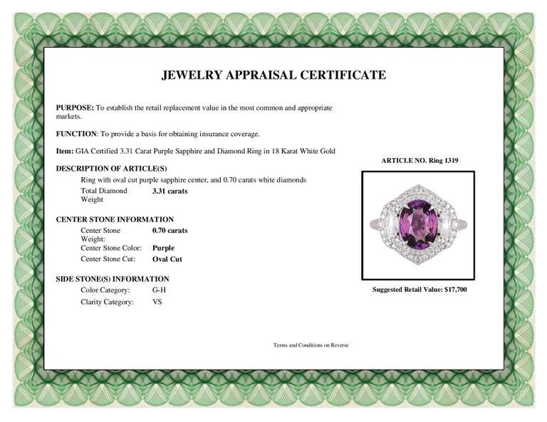 DiamondTown GIA Certified 3.31 Carat Purple Sapphire and Diamond Ring For Sale 3