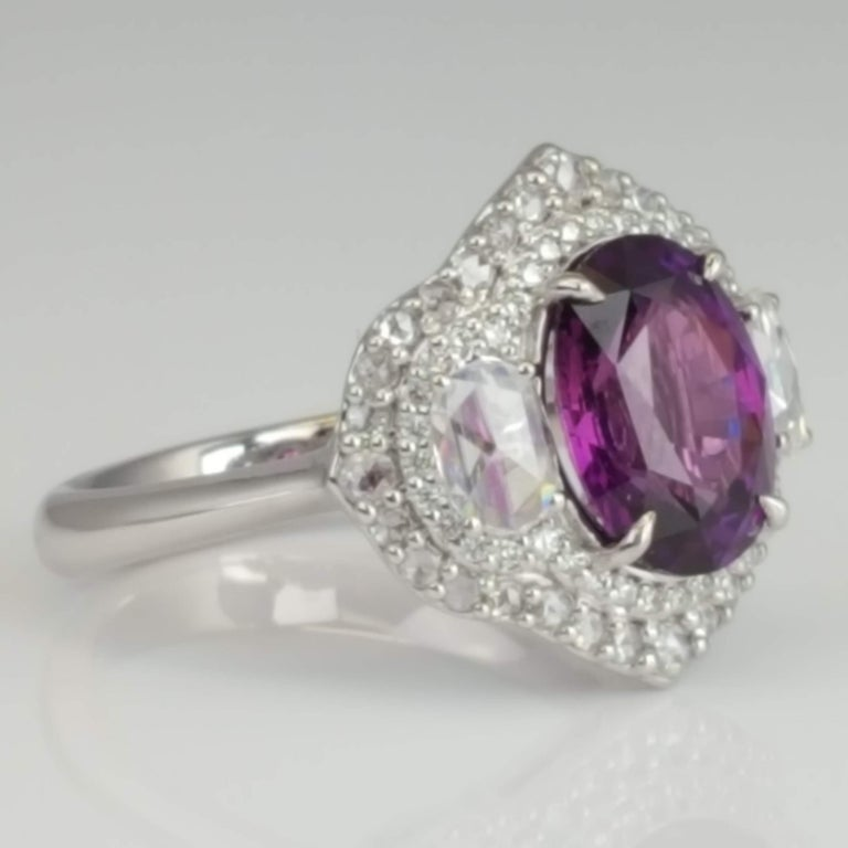 Oval Cut GIA Certified 3.31 Carat Purple Sapphire and Diamond Ring in 18 Karat White Gold For Sale