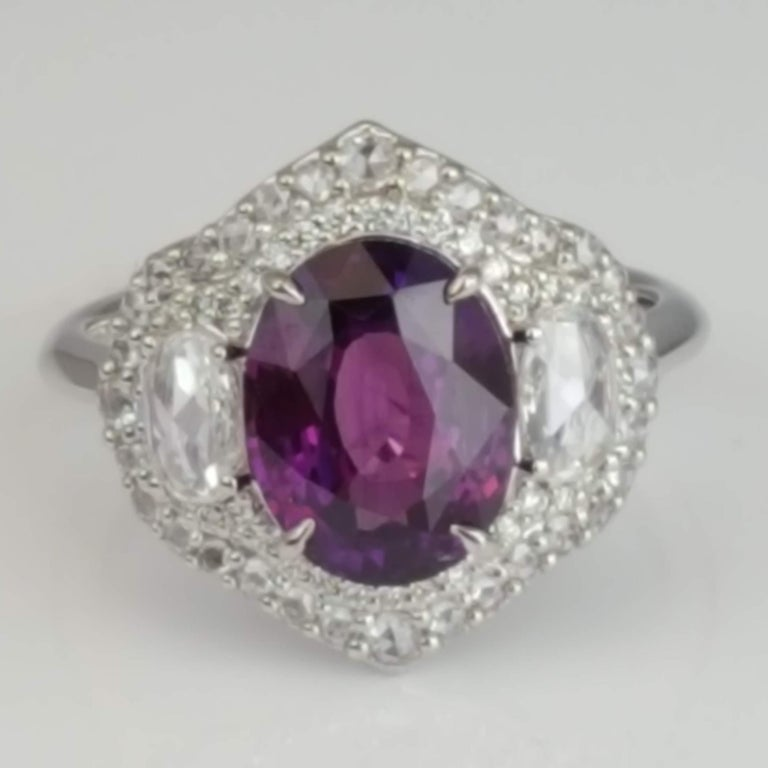 Oval Cut DiamondTown GIA Certified 3.31 Carat Purple Sapphire and Diamond Ring For Sale