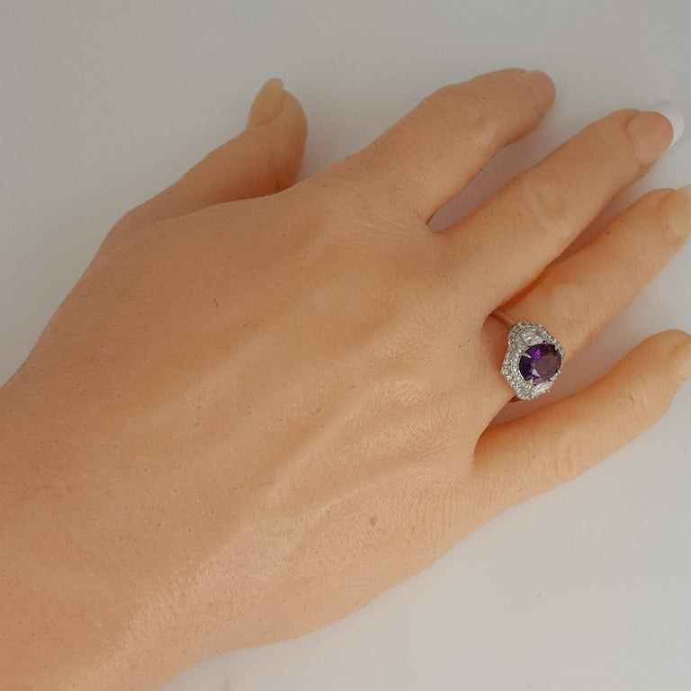 Women's DiamondTown GIA Certified 3.31 Carat Purple Sapphire and Diamond Ring For Sale