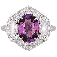 GIA Certified 3.31 Carat Purple Sapphire and Diamond Ring in 18 Karat White Gold
