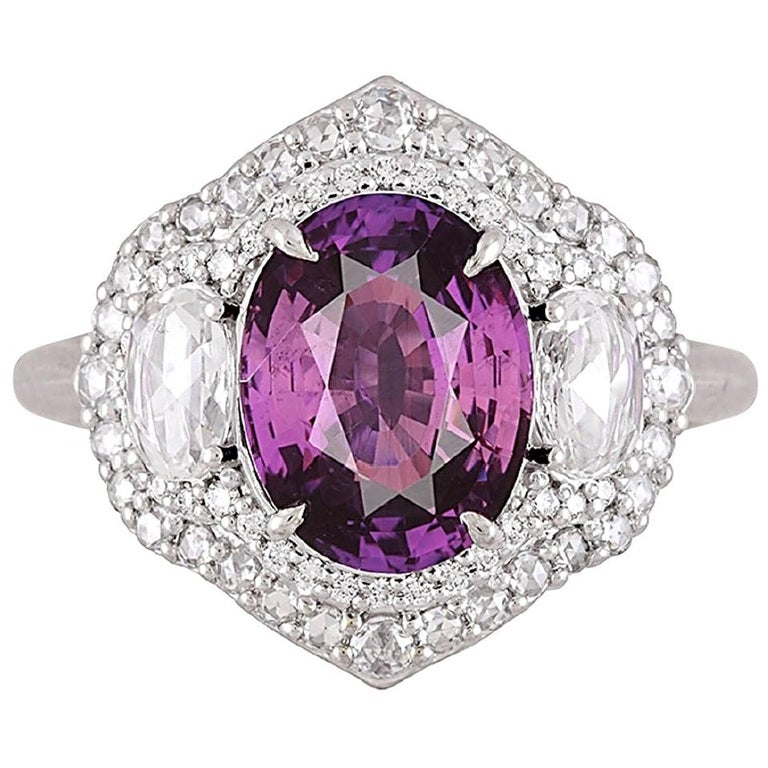 GIA Certified 3.31 Carat Purple Sapphire and Diamond Ring in 18 Karat White Gold For Sale