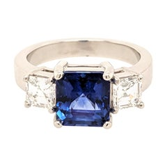 GIA Certified 3.31 Carat Sapphire and Diamond 3-Stone Ring