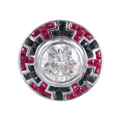 GIA Certified 3.34 Carat Diamond Ruby Onyx White Gold Cocktail Ring