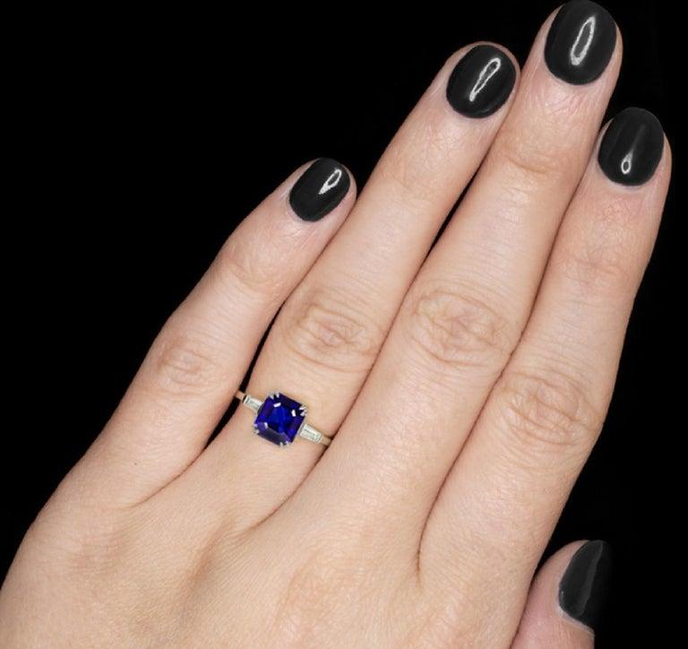 Modern GIA Certified 3.34 Carat Emerald Cut Sapphire Royal Blue Ring