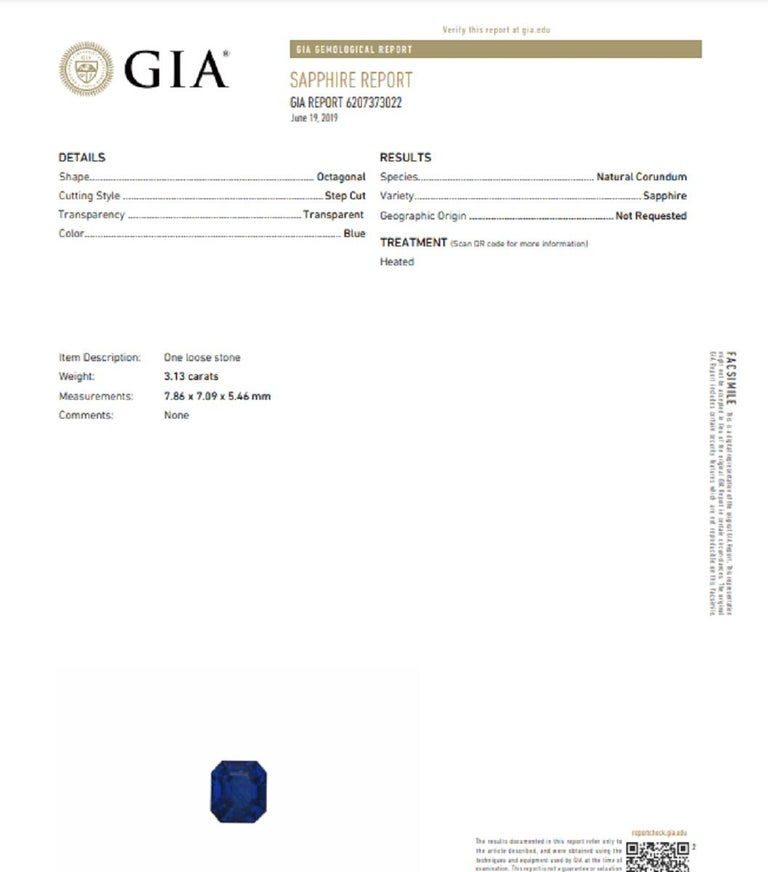 GIA Certified 3.34 Carat Emerald Cut Sapphire Royal Blue Ring In New Condition In Rome, IT