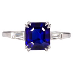 GIA Certified 3.34 Carat Emerald Cut Sapphire Royal Blue Ring