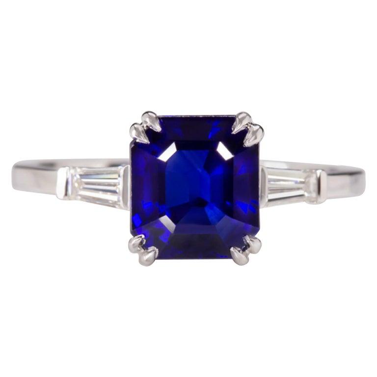 GIA Certified 3.34 Carat Emerald Cut Sapphire Royal Blue Ring