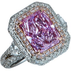 GIA Certified 3.34 Carat Fancy Pinkish Purple Diamond Engagement Ring