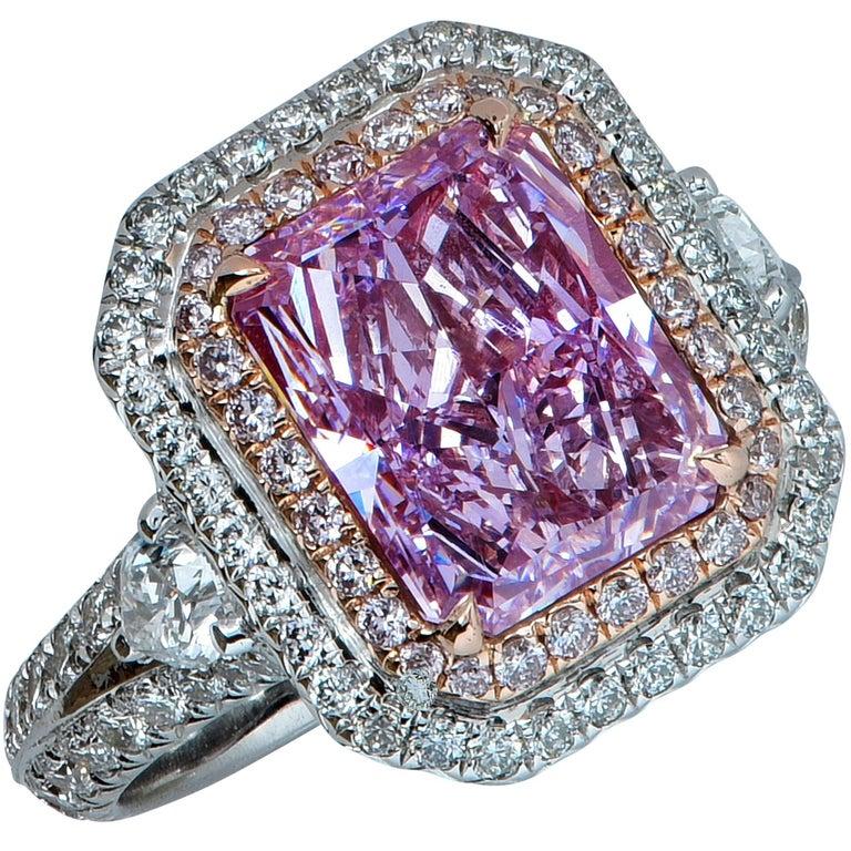 GIA Certified 3.34 Carat Fancy Pinkish Purple Diamond Engagement Ring