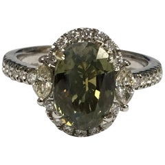 GIA Certified 3.35 Carat Alexandrite Diamond Engagement Ring