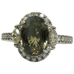 GIA Certified 3.35 Carat Alexandrite Diamond Ring