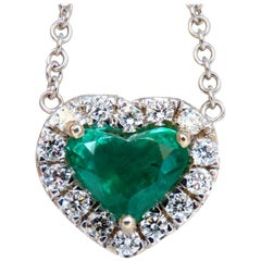 GIA Certified 3.35 Carat Natural Emerald Heart Cut Diamond Necklace 18 Karat