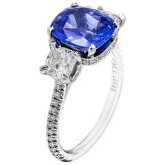 GIA Certified 3.36 Carat Blue Sapphire 3-Stone Ring
