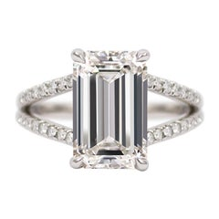 GIA Certified 3.37 Carat E VVS2 Emerald Cut Pave Split Shank Platinum Ring