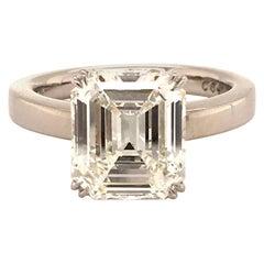 GIA Certified 3.37 Carat H-IF Emerald Cut Diamond Ring