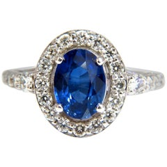 GIA Certified 3.38 Carat Natural Royal Blue Sapphire Ring Halo Cluster