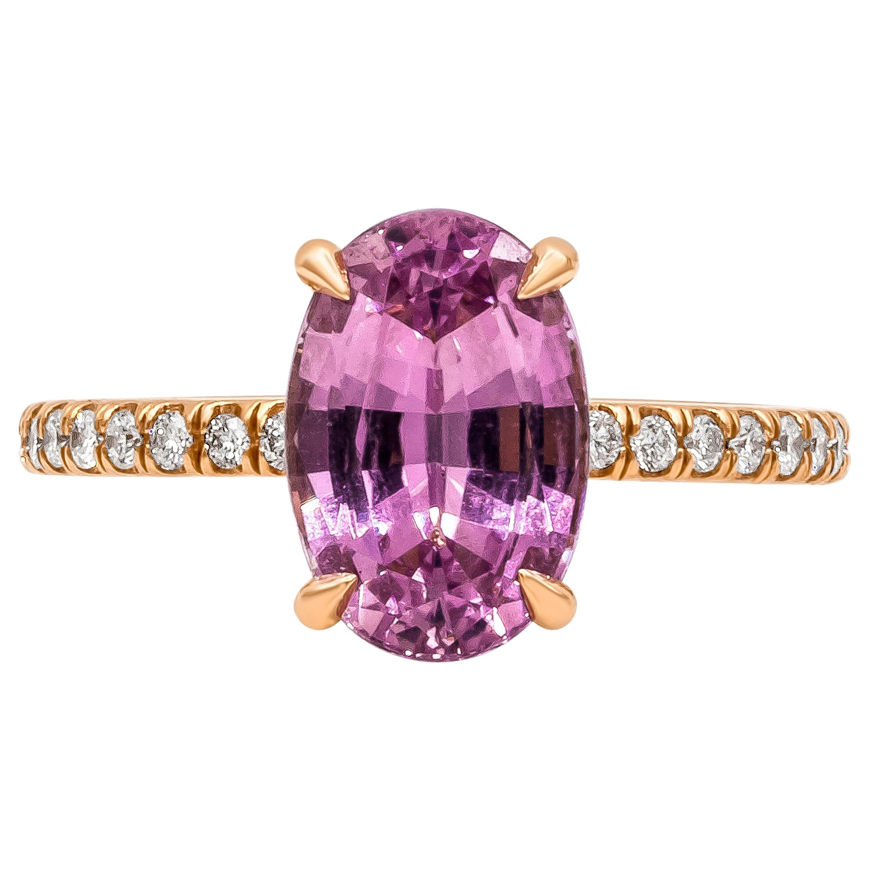 GIA Certified 3.38 Carat No Heat Pink Sapphire and Diamond Engagement Ring