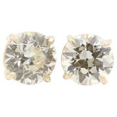 GIA Certified 3.39 Carat Old European Cut Diamonds 14 Karat Stud Earrings