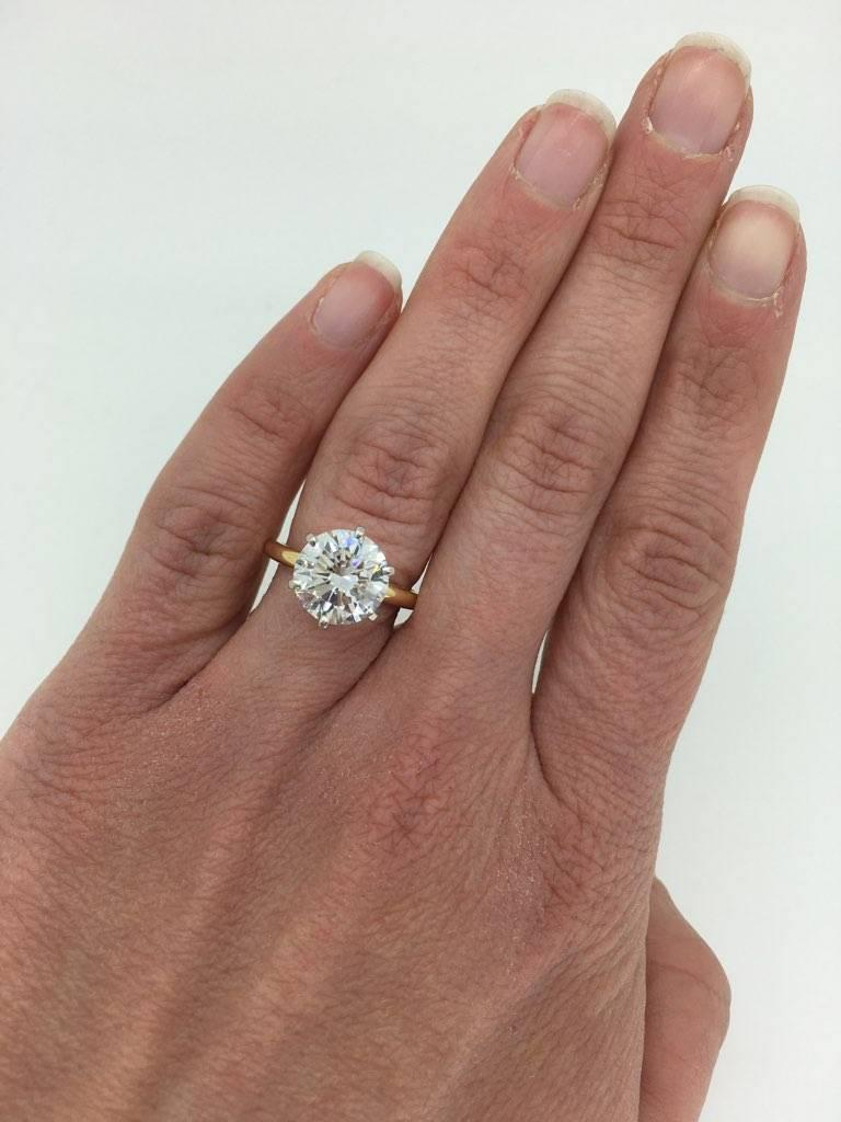 Gia Certified 3 39 Carat Round Brilliant Cut Diamond Engagement Ring For Sale At 1stdibs