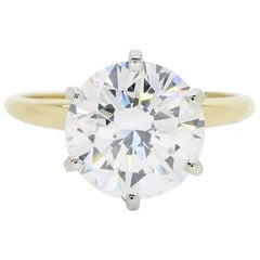 GIA Certified 3.39 Carat Round Brilliant Cut Diamond Engagement Ring