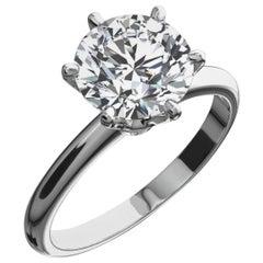 GIA Certified 3.71 Carat Round Brilliant Cut Diamond Platinum Ring