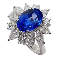 GIA Certified 3.40 Carat Burma No Heat Sapphire Diamond Cocktail Ring