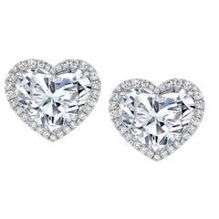 GIA Certified 4.50 Carat Heart Cut Diamond Studs with Halo