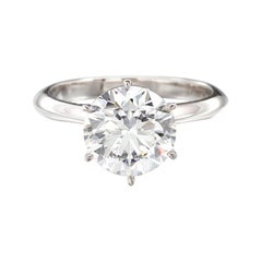 GIA Certified 3.40 Carat Round Brilliant Cut Diamond Engagement Ring