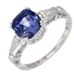 GIA Certified 3.41 Carat Sapphire Diamond White Gold Engagement Ring