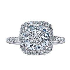 GIA Certified 3.41 Cushion Cut Diamond Ring