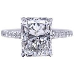 GIA Certified 3.41 Radiant ISI1 Diamond Ring