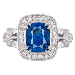 DiamondTown GIA Certified 3.42 Carat Cushion Cut Ceylon Sapphire and Diam. Ring