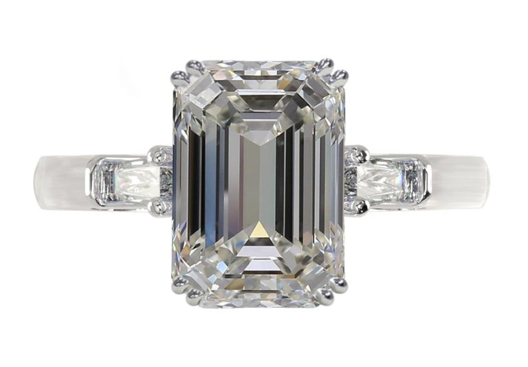 Women's or Men's GIA Certified 3.43 Carat Emerald Cut Diamond Ring Triple Excellent Cut For Sale