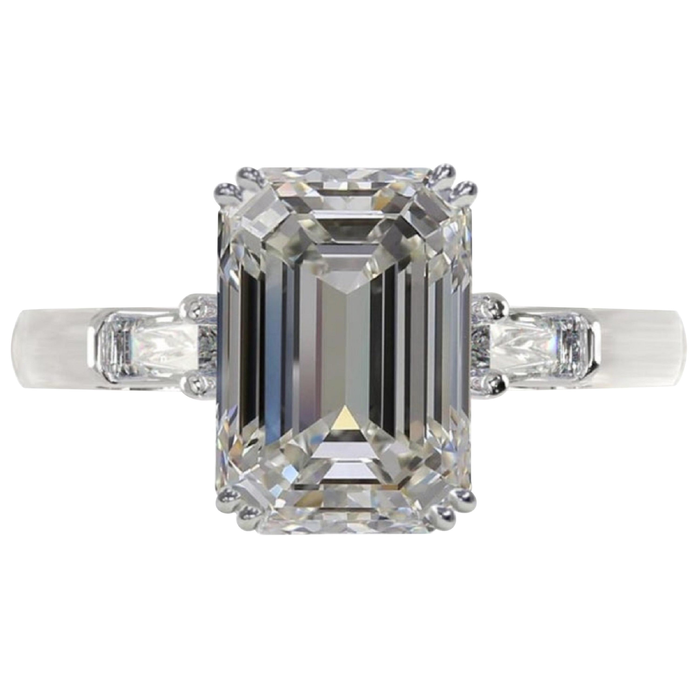 GIA Certified 3 Carat Emerald Cut Diamond Ring Triple Excellent Cut