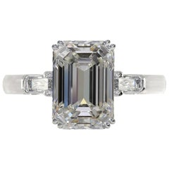 GIA Certified 3.43 Carat Emerald Cut Diamond Ring Triple Excellent Cut