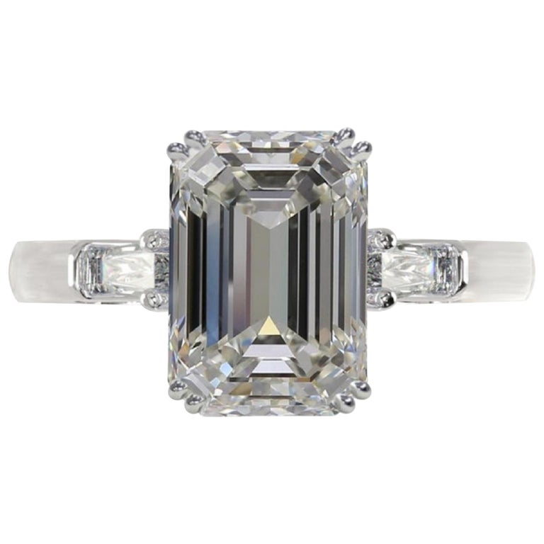 GIA Certified 3.43 Carat Emerald Cut Diamond Ring Triple Excellent Cut For Sale
