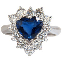 GIA Certified 3.45 Carat Natural Sapphire Diamonds Ring 18 Karat Heart Cut