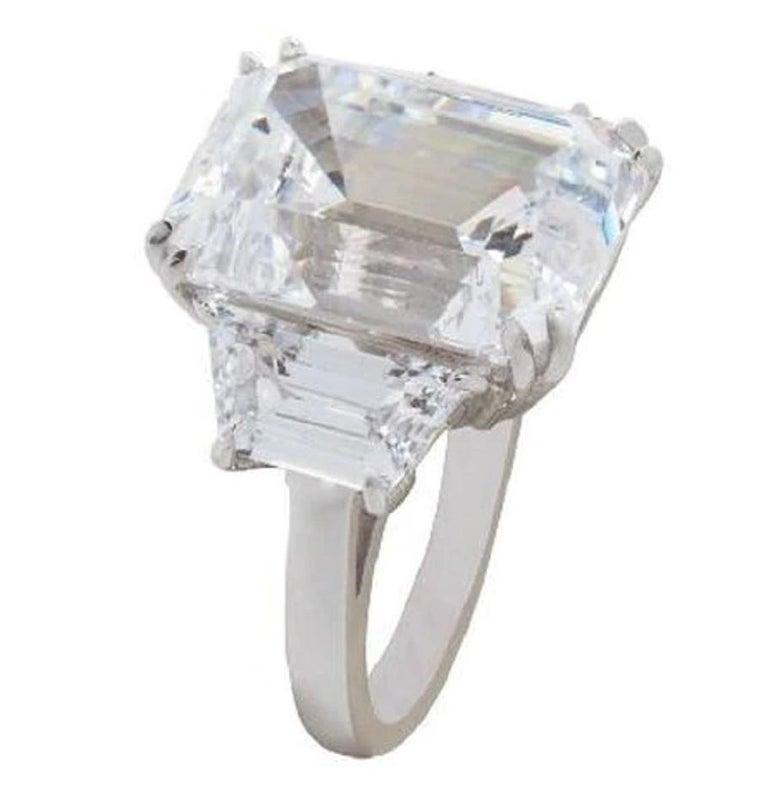 GIA Certified 4 Carat Three Stone Emerald Cut Diamond Ring