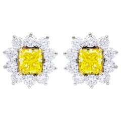 GIA Certified 3.46 Carat Cushion Cut Fancy Yellow Diamond Cluster Stud Earrings